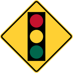 Traffic sign of Thailand: Warning for a traffic light