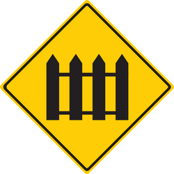 Traffic sign of Thailand: Warning for a railroad crossing with barriers