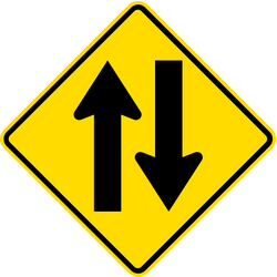 Traffic sign of Thailand: Warning for a road with two-way traffic