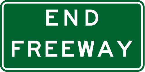 Traffic sign of Australia: End of the motorway