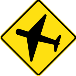 Traffic sign of Australia: Warning for low-flying aircrafts