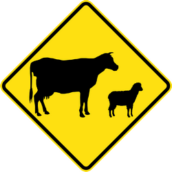 Traffic sign of Australia: Warning for cattle on the road