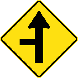 Traffic sign of Australia: Warning for a crossroad with a side road on the left