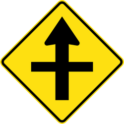 Traffic sign of Australia: Warning for a crossroad side roads on the left and right
