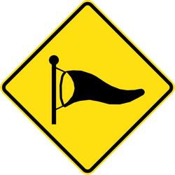 Traffic sign of Australia: Warning for heavy crosswind