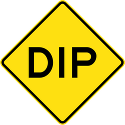 Traffic sign of Australia: Warning for a dip in the road