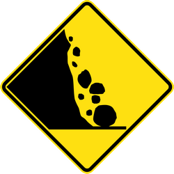 Traffic sign of Australia: Warning for falling rocks