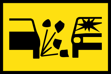 Traffic sign of Australia: Warning for loose chippings on the road surface