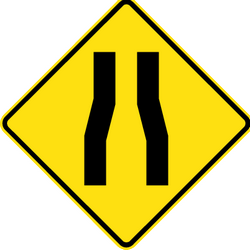 Traffic sign of Australia: Warning for a road narrowing