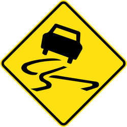 Traffic sign of Australia: Warning for a slippery road surface