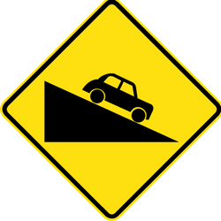 Traffic sign of Australia: Warning for a steep descent
