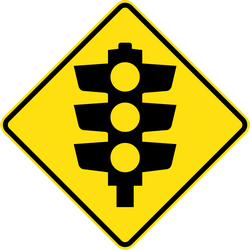 Traffic sign of Australia: Warning for a traffic light