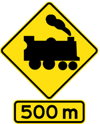 Traffic sign of Australia: Warning for a railroad crossing without barriers