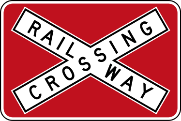 Traffic sign of Australia: Warning for a railroad crossing with 1 railway