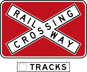 Traffic sign of Australia: Warning for a railroad crossing with more than 1 railway