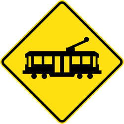 Traffic sign of Australia: Warning for trams