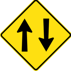 Traffic sign of Australia: Warning for a road with two-way traffic