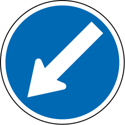Traffic sign of New Zealand: Passing left mandatory