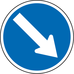 Traffic sign of New Zealand: Passing right mandatory