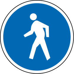 Traffic sign of New Zealand: Mandatory path for pedestrians