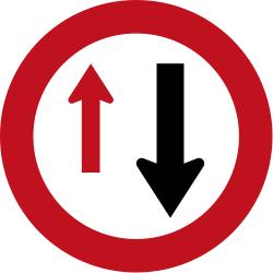 Traffic sign of New Zealand: Road narrowing, give way to oncoming drivers