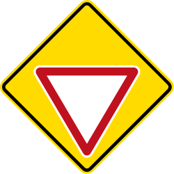 Traffic sign of New Zealand: Give way ahead