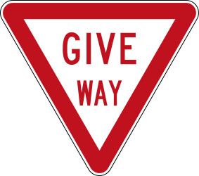 Traffic sign of New Zealand: Give way to all drivers
