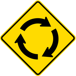 Traffic sign of New Zealand: Warning for a roundabout