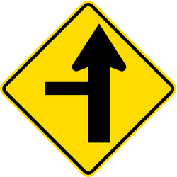 Traffic sign of New Zealand: Warning for a crossroad with a side road on the left