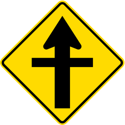 Traffic sign of New Zealand: Warning for a crossroad side roads on the left and right