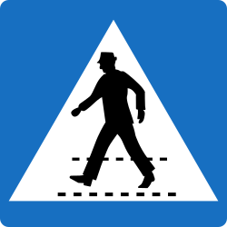Traffic sign of Austria: Crossing for pedestrians