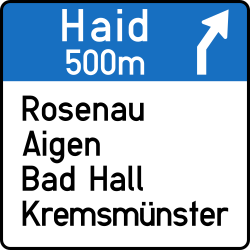 Traffic sign of Austria: Information about the next exit
