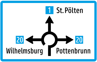 Traffic sign of Austria: Information about the directions of the roundabout