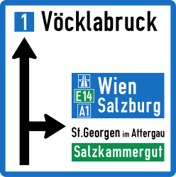 Traffic sign of Austria: General information about the directions
