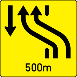 Traffic sign of Austria: Temporary change in the direction of the lanes