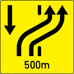 Traffic sign of Austria: End of the changed direction of the lanes
