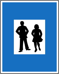 Traffic sign of Austria: Begin of a zone for pedestrians