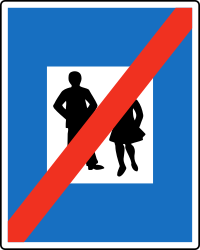 Traffic sign of Austria: End of the zone for pedestrians