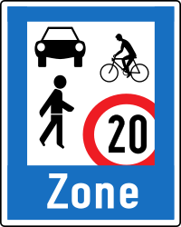 Traffic sign of Austria: Begin of a residential area