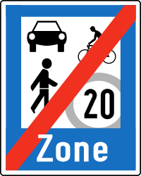 Traffic sign of Austria: End of the residential area