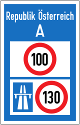 Traffic sign of Austria: National speed limits