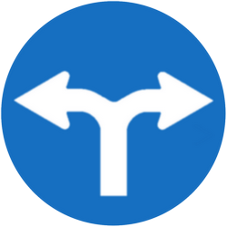 Traffic sign of Austria: Turning left or right mandatory