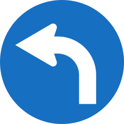 Traffic sign of Austria: Turning left mandatory