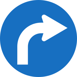Traffic sign of Austria: Turning right mandatory