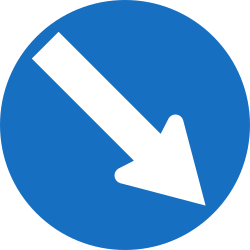 Traffic sign of Austria: Passing right mandatory