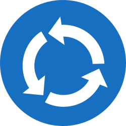 Traffic sign of Austria: Mandatory direction of the roundabout