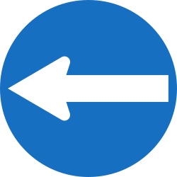 Traffic sign of Austria: Mandatory left