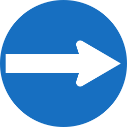 Traffic sign of Austria: Mandatory right
