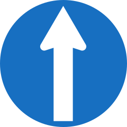 Traffic sign of Austria: Driving straight ahead mandatory