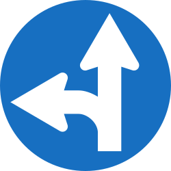 Traffic sign of Austria: Driving straight ahead or turning left mandatory
